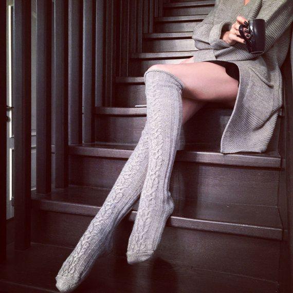 20 % de réduction, haute de genou câble tricot épais alpaga laine chaussettes…