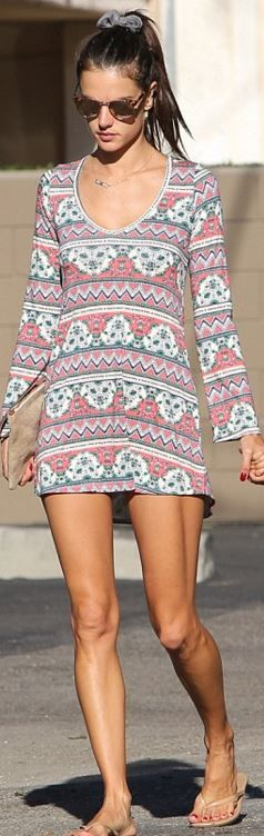 Who made  Alessandra Ambrosio's sunglasses, print long sleeve dress, and nude flip flops?