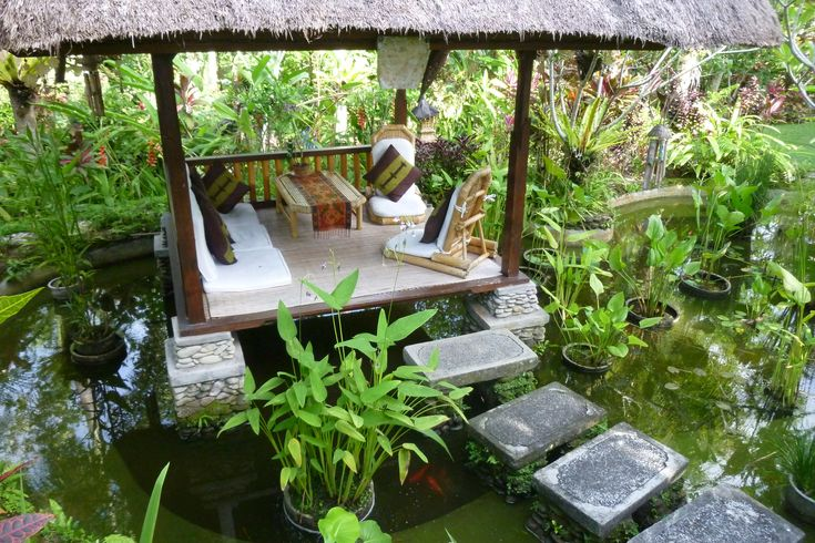 Water feature and gazebo inspirations for my balinese for Outdoor tropical fish pond