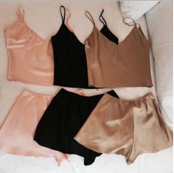Silky Satin Pajamas,Two Piece Sleepwear, shorts set for pajamas,sexy !!!