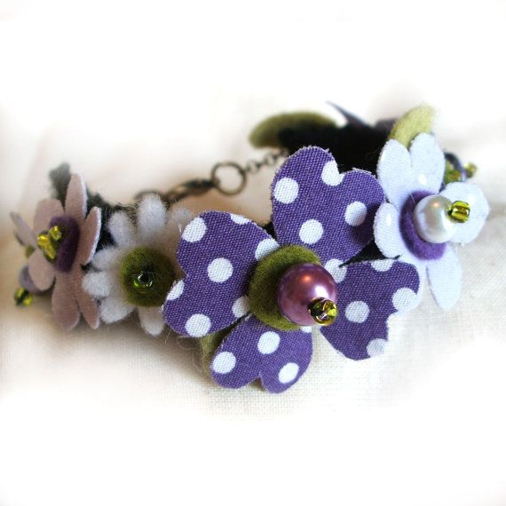 Purple and White Flower Bracelet Fabric Flowers by CraftyJoDesigns