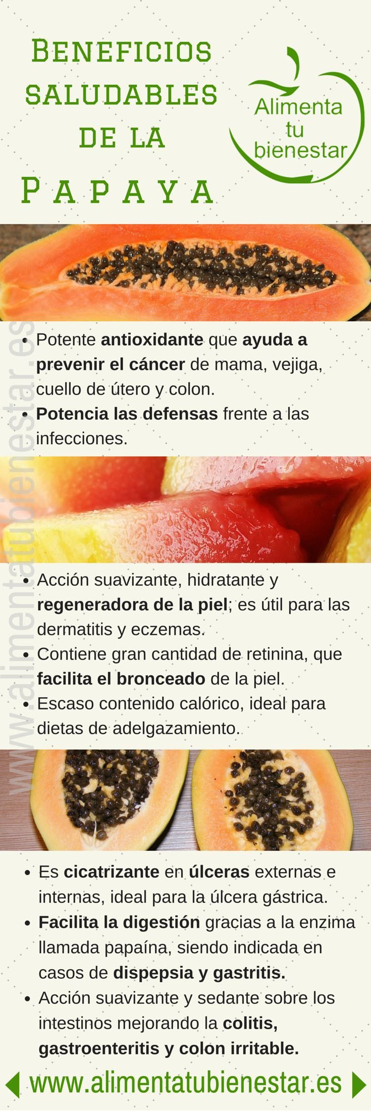 #Infografia Beneficios saludables de la papaya #alimentatubienestar