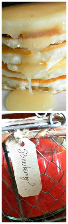 Little House on the Prairie: Flapjacks and Syrup ~ Our Ma's Pancakes, Buttermilk Syrup and Strawberry Syrup recipes... Our mom's light and moist pancakes, a sweet and fresh strawberry syrup, and that holy grail of all pancake toppings---buttermilk syrup