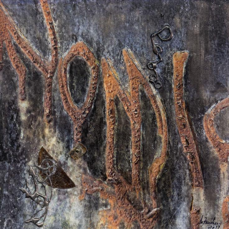 Lacération silencieuse III. Techniques mixtes.  Composition numérique, rouille, colle chaude transférée sur bois. Format 12 X 12.