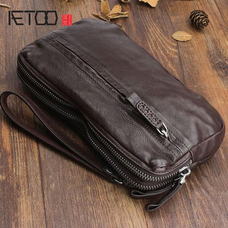 Photo of AETOO Original hand-made retro leather handbag first layer of leather wallet mul…