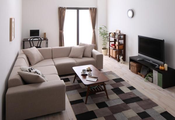 8畳ワンルームでL字型ソファを置いても狭さを感じさせないコーディネートテクニックのインテリアコーディネート実例写真