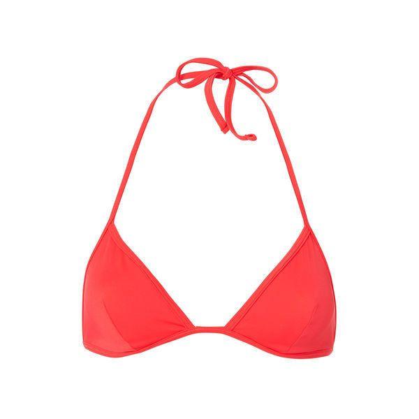 Solid & Striped Wendy  Triangle Bikini Top (1.055.340 IDR) ❤ liked on Polyvore featuring swimwear, bikinis, bikini tops, red, tankini tops, striped bikini top, red bikinis, red bikini top and red swim top