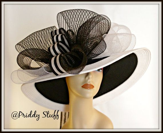 Kentucky Derby Hat Floppy Brim Hat  Black  White by PriddyStuff