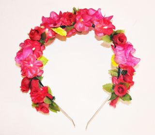 vincha de flores frida - rosas — de las bolivianas