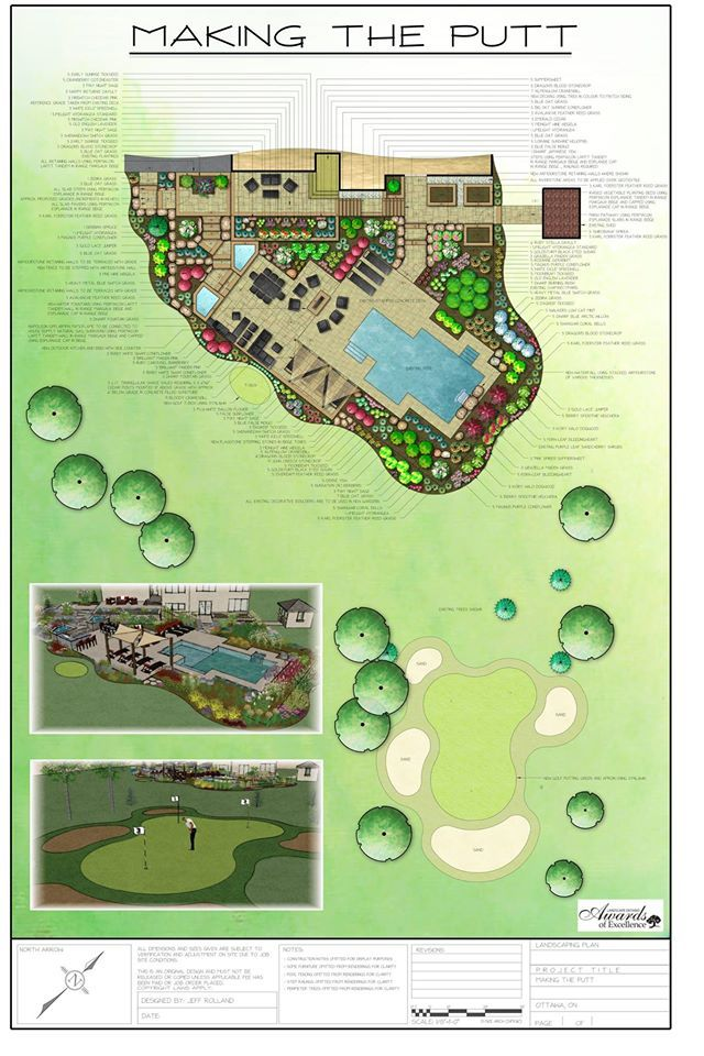 """Here's the other half of our Landscape Ontario winners for 2014: """"Making the Putt"""", as designed by Jeffrey Rolland. This design provides a truly luxurious outdoor experience, complete with a new patio, a pool, an outdoor kitchen and bar, fountains, a fireplace and even a chipping and putting green!"""
