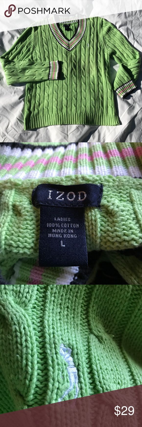 Izod Cotton V-Neck Golf Sweater Excellent condition. Like new. Machine washable. 100% Cotton. Bundle and save! Offers welcome. I have several of these to list. Izod Sweaters V-Necks