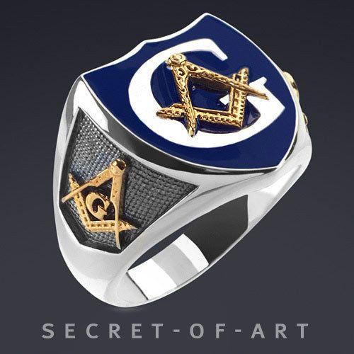details about masonic police ring silver 925 sterling ring blue enamel 24k gold plated parts. Black Bedroom Furniture Sets. Home Design Ideas