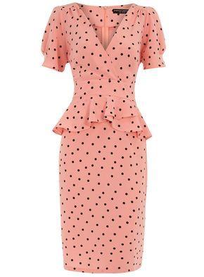 Coral polka dot peplum dress #retro #vintage #1940s