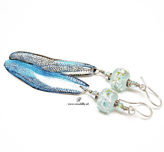 Blue lagoon dragonfly wings earrings. Long blue resin wing