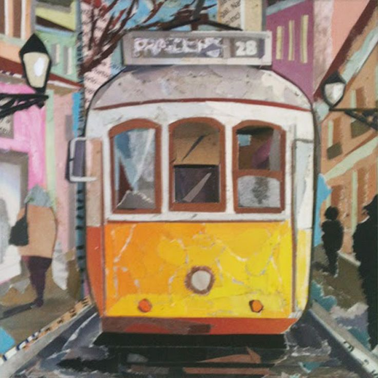 LISBON´S TRAM / ELÉCTRICO 28- LISBOA / collage / paper on cardboard / anti-UV protection / 12,5 x 12,5 cm - 4,9 x 4,9 inches/ ©Philippe Patricio 2014 / all rights reserved