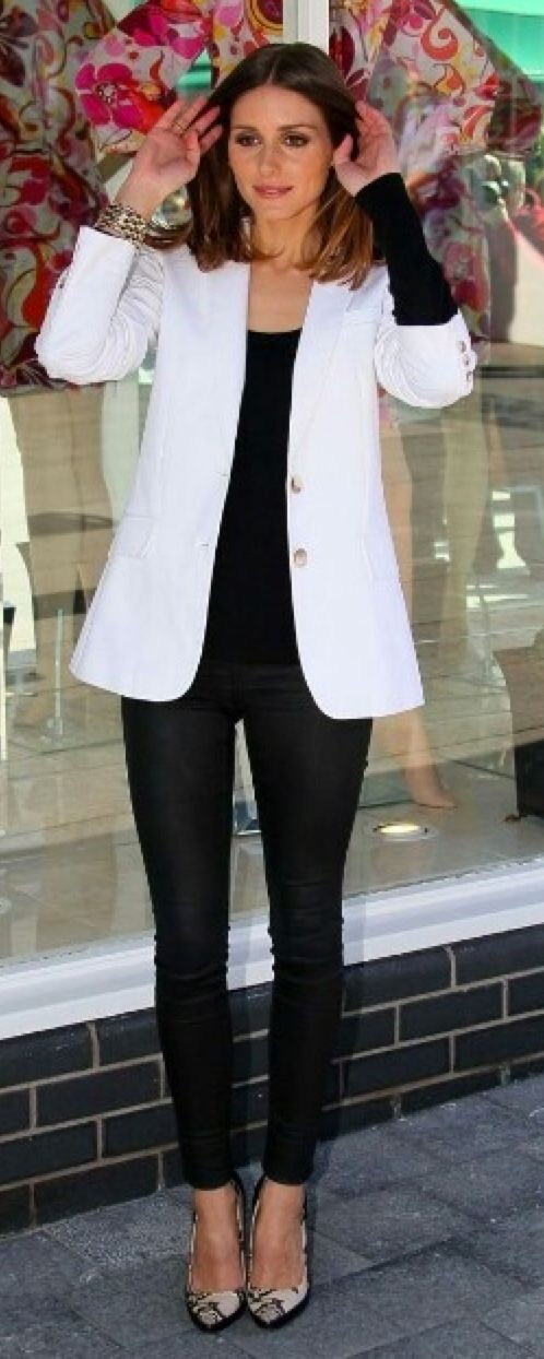 Outfit Posts: outfit post: white blazer, black ankle pants, snakeskin pointed toe pumps