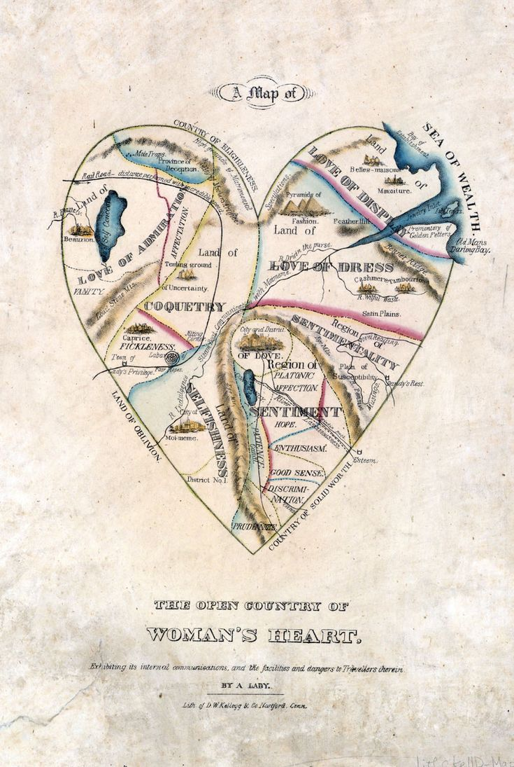 """19th-century ideals of womanhood and beauty expressed creatively through vintage cartography: """"A Map of the Open Country of a Woman's Heart"""" D.W. Kellogg circa 1833-1842."""