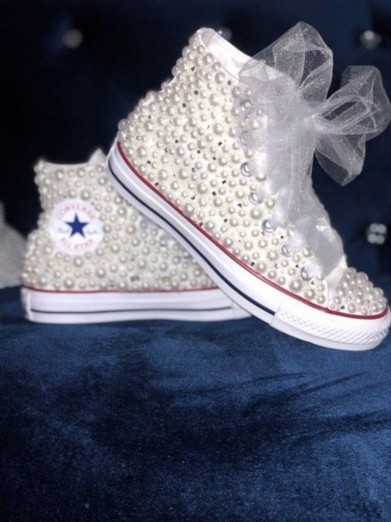 9752d1054b15 Women s White Pearl High Top Chuck Taylor All Star Converse with  Bling-Wedding-Party all sizes