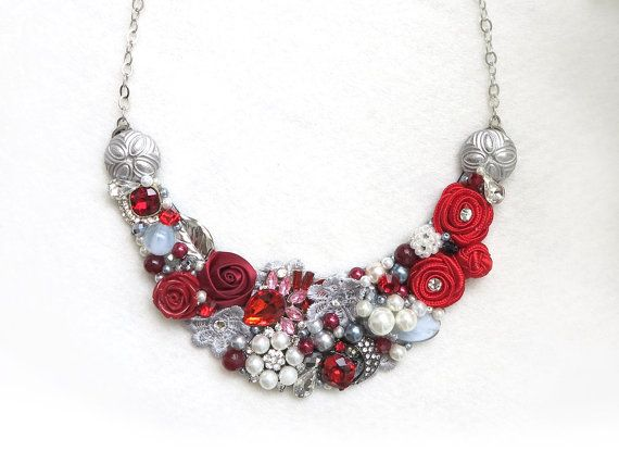 Red, White, Silver - Handmade Statement Necklace - Neck Swag - Bib Necklace - Maid of Honor - Bridal - Wedding - Classic - Vintage - OOAK on Etsy, $57.00