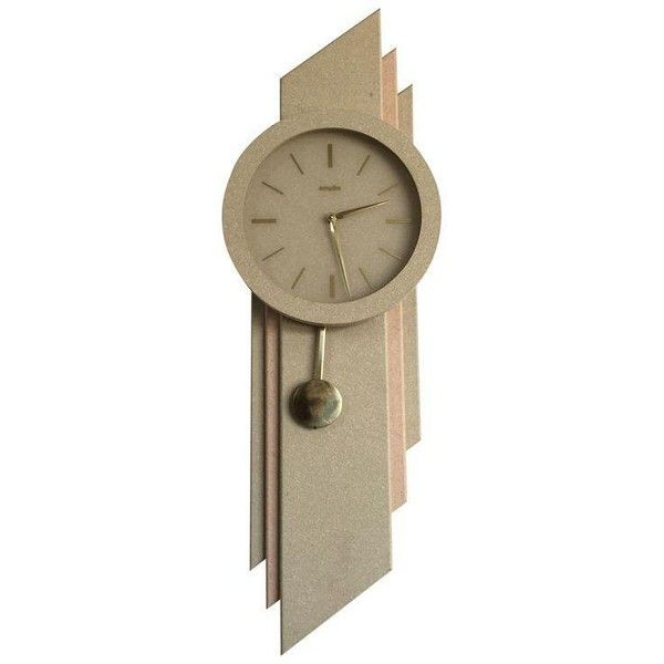 Vintage Modernist Wall Clock ($250) ❤ liked on Polyvore featuring home, home decor, clocks, vintage home accessories, vintage signs, vintage wall clocks, pendulum clock and pendulum wall clocks