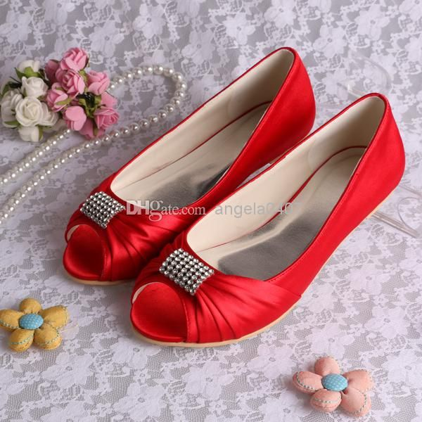 f5fa8592cd2 (12 Colors) Free Shipping Elegant Flats for Women MQW-1361 Red Peep Toe  Satin Rhinestones Flat Heel Bridal Wedding Party Shoes US 4-12