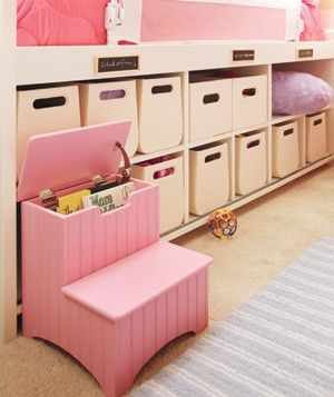 20 Creative Tips for Kids' Rooms  Exploit all opportunities for storage, like a bed with built-in cubbies and pull-out bins. Even the step stool has a secret stash.