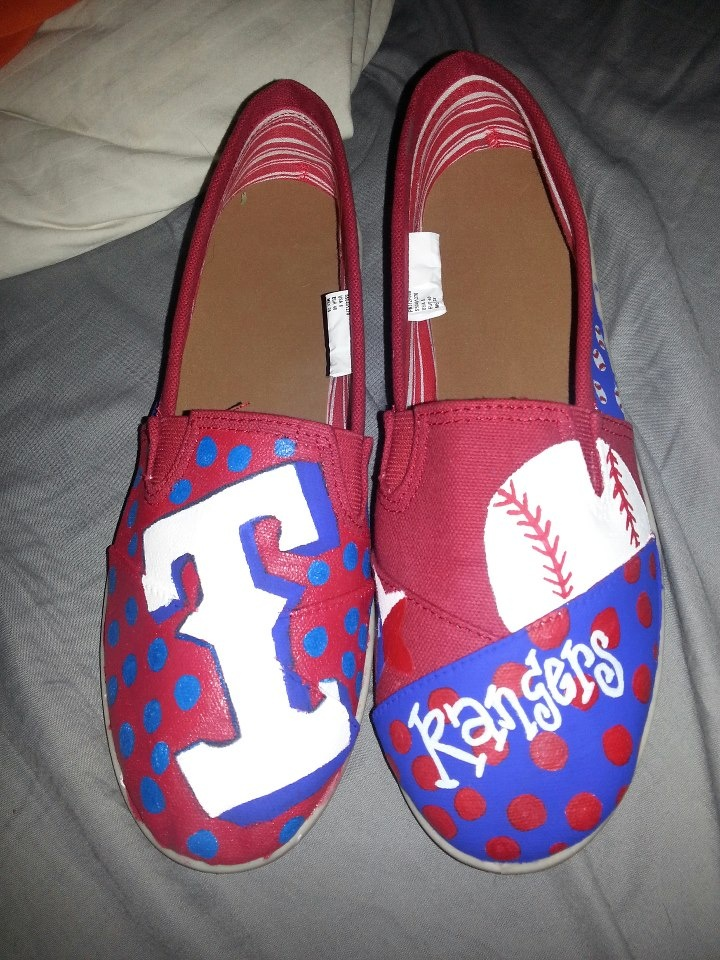Painted Texas Rangers Shoes I did for @Kayla Barkett Barkett Lewis