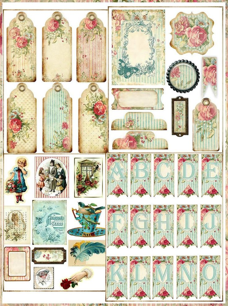 Shabby Roses Digital Journal Book Kit with 24 Papers and