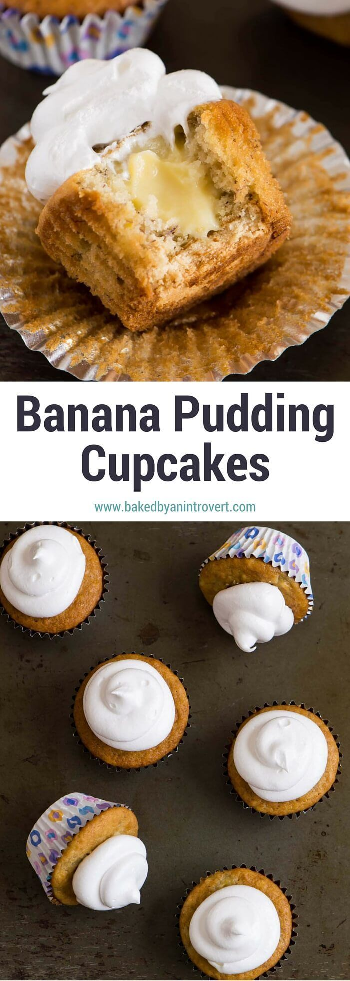 In an ode to banana pudding, a southern classic, these Banana Pudding Cupcakes feature a banana flavored cupcake with a vanilla wafer on the bottom, filled with homemade vanilla pudding, and topped with marshmallowy 7-minute frosting. These cupcakes taste just like an old-fashioned banana pudding dessert made from scratch. If you are looking to bake something new and exciting, this cupcake recipe is the one for you! #ad #BiteSizedBitsOfJoy