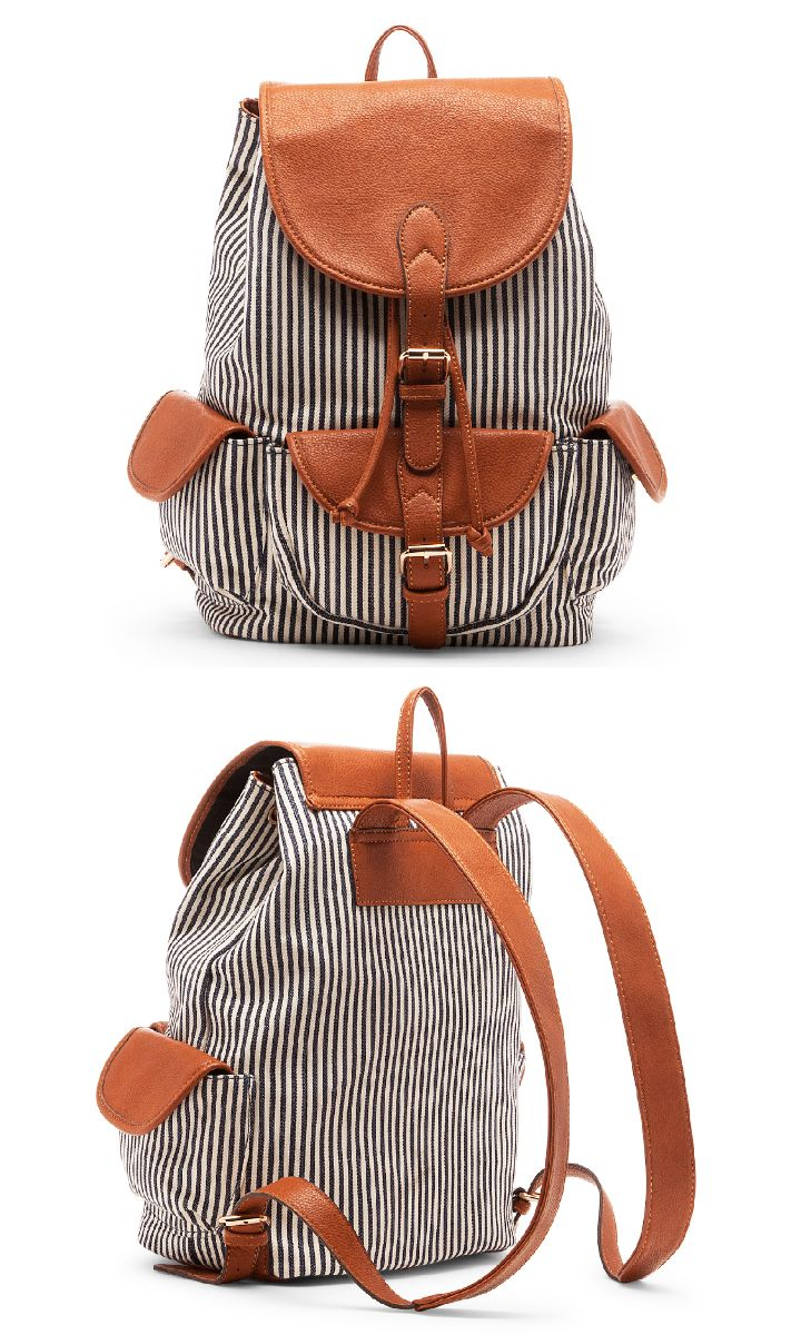 Navy & white striped fabric backpack//