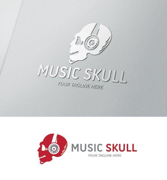 Music Skull Logo by Super Pig Shop on @creativemarket