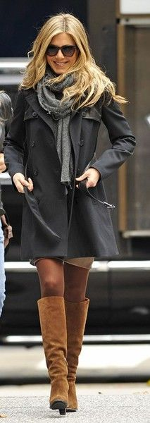 brown tights, khaki dress and brown boots. Great fall outfit!