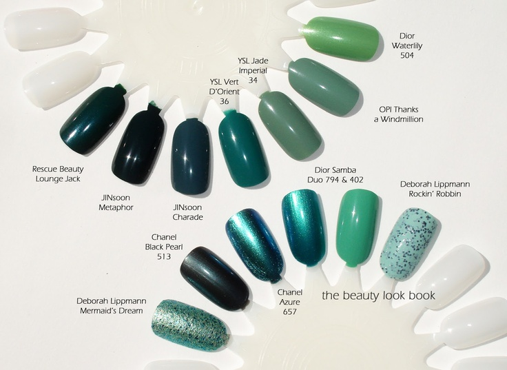 A Nail Color Overview: Emerald, Aqua, Green & Teal / By TheBeautyLookBook  [Top Row: Rescue Beauty Lounge-Jack (LE Release); JINsoon-Metaphor; JINsoon-Charade; YSL-Vert d'Orient #036; YSL-Jade Imperial #034 (LE Release - Spring 2013); OPI-Thanks a Windmillion; Dior-Waterlily (LE Release - Spring 2012)]
