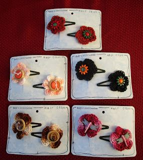 BaRb'n'ShEllcreations - Crocheted Hair clips - made byShell