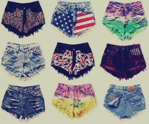 Shorts de diversos estampados