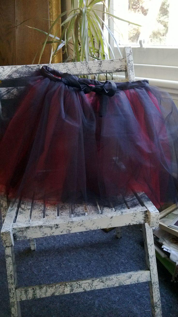 Reversible Black and Red Net Petticoat or Tutu.