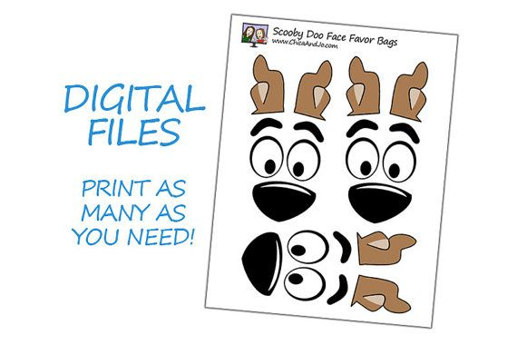 Scooby Doo Party Favor Bag Printable DIGITAL make by chicaandjo