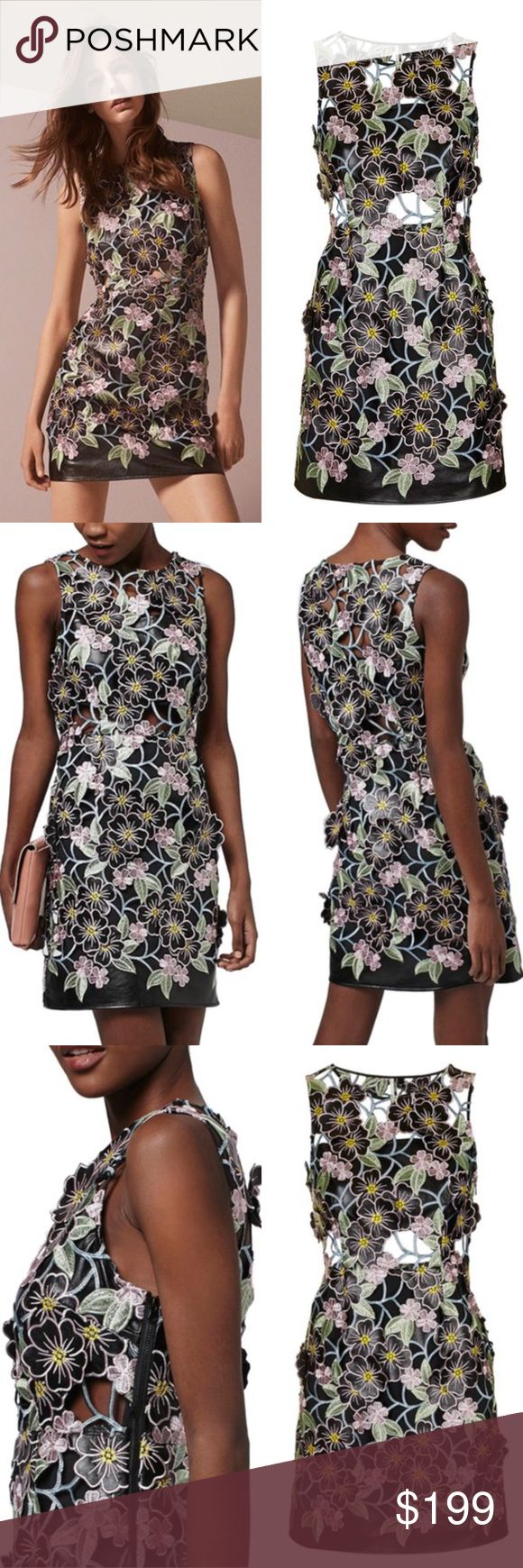 Topshop Leather Floral Dress|AMAZING Absolutely stunning dress by Topshop.  3D floral appliqué throughout dress shell.  Lined skirt.  Top half is lined with leather bandeau.  Intricate embroidery throughout.  Cutout waist.  Size 4 in Top Shop equivalent to US sizes 0-2. Topshop Dresses Mini