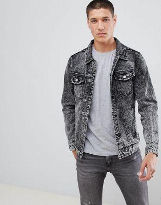 256f1abcac7 Pull&Bear denim jacket in acid wash black | Denim Jackets | Jackets ...
