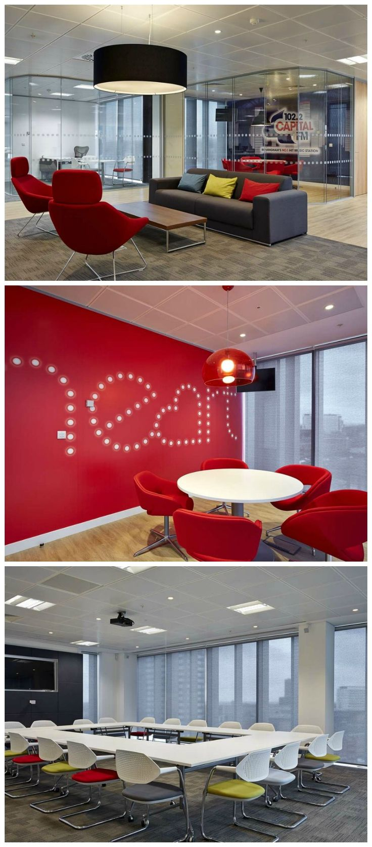 Meeting Rooms at Global Radio, home to Heart FM and Capital Radio.  Overbury designed and built Global Radio's new premises at Brindley Place, Birmingham, which included a variety of meeting rooms including a board room, glass-walled meeting rooms and informal meeting spaces. Many of the spaces include workplace branding which adds colour and personality to the spaces, like this 'heart' branded meeting room with bright red wall and red chairs.  See more on our website: