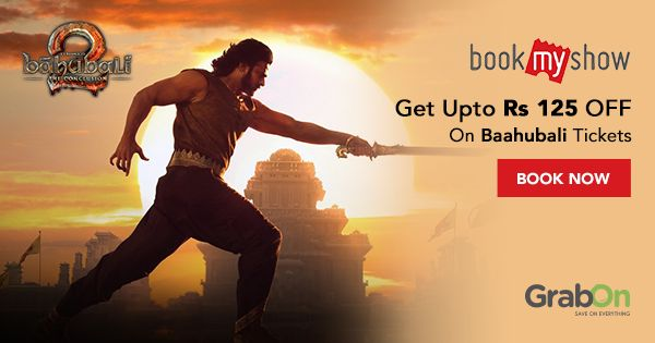 Check out GrabOn Exclusive super saver offers on #Bahubali2 tickets!   #Baahubali2 #Baahubali #BaahubaliTheConclusion #prabhas #anushkashetty #movies #offers #coupon #deals #BookMyShow
