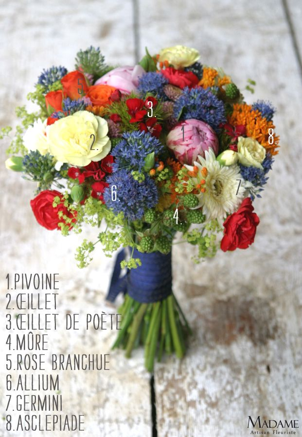 Bouquet de mariée {rouge, orange et bleu}