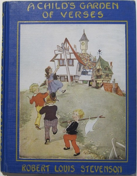 A Child's Garden of Verses   Robert Louis Stevenson                        illus by Eulalie                          I had this book as a child and loved the illustrations in it so much, I remember a child sailing in the clouds on his bed.