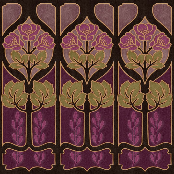 Alphonse Mucha inspired wallpaper border. Arts and Crafts era / Art Nouveau. Love love love
