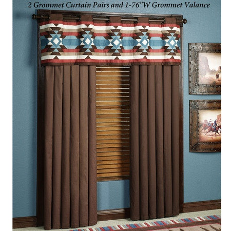 """Frontier Lined Window Treatment has polyester/cotton backing and 1.5"""", antique bronze grommets. Curtains are solid chocolate. Valance has pieced Southwest medallions and stripes."""