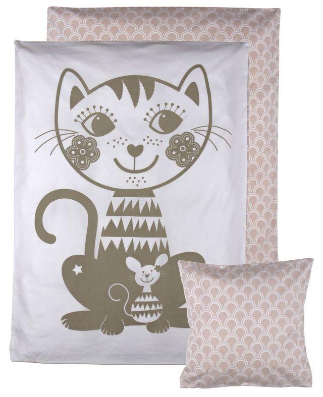 Økologisk junior sengetøj med kat – Soulmate fra RoomMate. Tinga Tango Designbutik