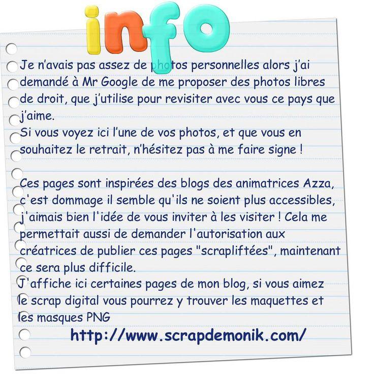 Lien vers mon blog = http://www.scrapdemonik.com/ Vous y trouverez des maquettes et des masques pour réaliser ces pages en scrap digital