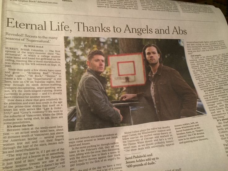 New York Times article about Supernatural (read the full article at the link). One of the longest running dramas, and sadly one of the least acclaimed.