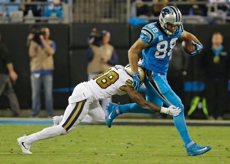 Saints Panthers Football Greg Olsen, Vonn Bell