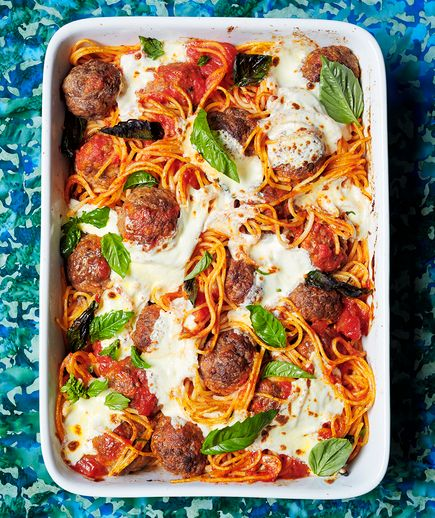 No need to boil the spaghetti according to the package directions for this casserole. It will get tender and saucy in the oven as the meatballs brown.
